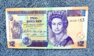 Belize Two Dollar Bill